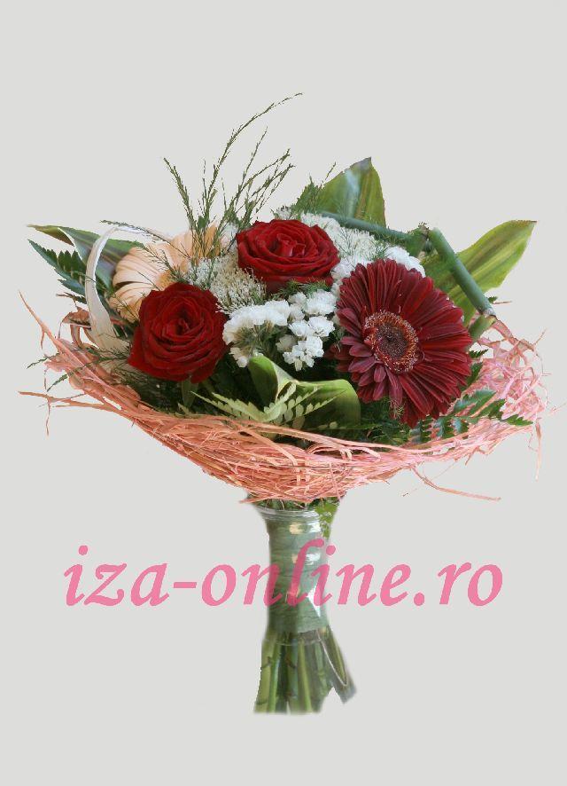 Clic pentru a vedea imaginea mărită Buchet asortat din trandafiri si gerbera