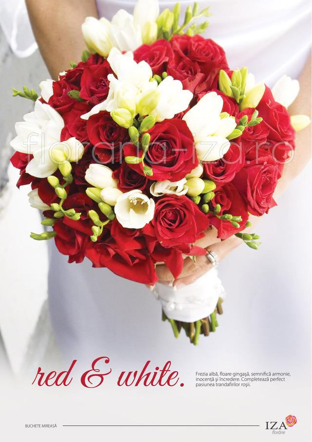Clic pentru a vedea imaginea mărită Red & white - Buchet de miresa