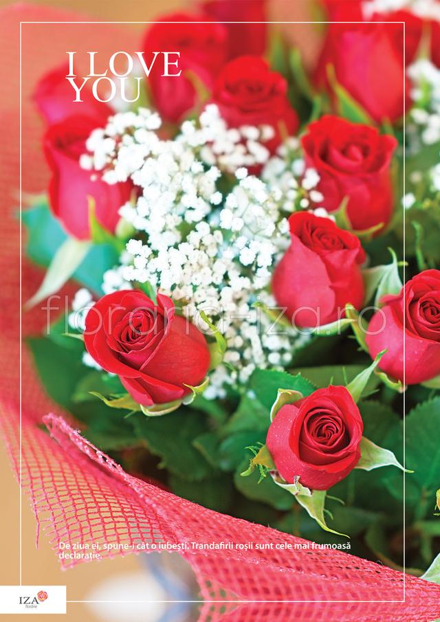 Clic pentru a vedea imaginea mărită Buchet de trandafiri - I Love You