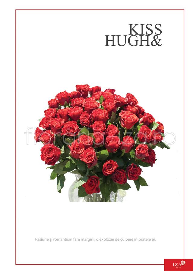 Clic pentru a vedea imaginea mărită Buchet din 45 de trandafiri - Kiss & Hugh